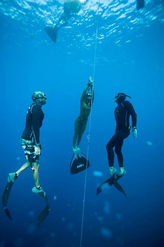 constant weight freediving with spotters